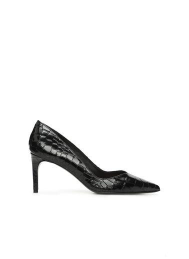 Divarese Divarese 5024742 Krokodil Dokulu Kösele Nlı 8 Cm Topuklu Deri Kadın Topuklu Ayakkabı Siyah